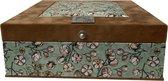 The Box For Tea  Bruin Groen Katoenplant Theedoos met Thee Cadeau - 9 vaks - Bruin