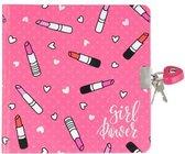 Afbeelding van dagboek lipstick roze met slot roze 17.5 cm hoog bij 14 cm lang  inclusief unicorn sleutelhanger