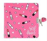 dagboek lipstick roze met slot roze 17.5 cm hoog bij 14 cm lang  inclusief unicorn sleutelhanger