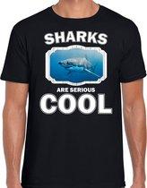 Dieren haaien t-shirt zwart heren - sharks are serious cool shirt - cadeau t-shirt haai/ haaien liefhebber 2XL