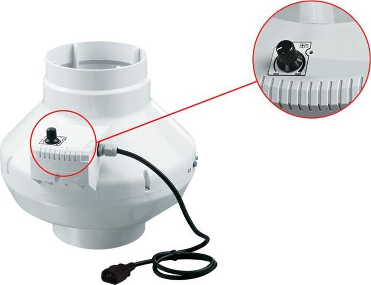 Vents buisventilator VK + Luchtvolume regelaar  100 mm - 250 m /h
