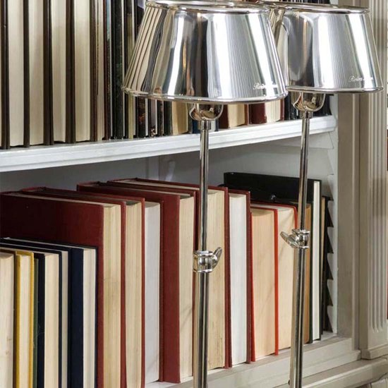 Riviera Maison Hampton Lamp Incl Oval Shade - Tafellamp - Aluminium. RVS - Zilver