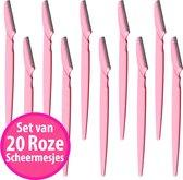 CM lifestyle Wenkbrauwen Scheermesjes Set van 20 Roze - Epileermesjes