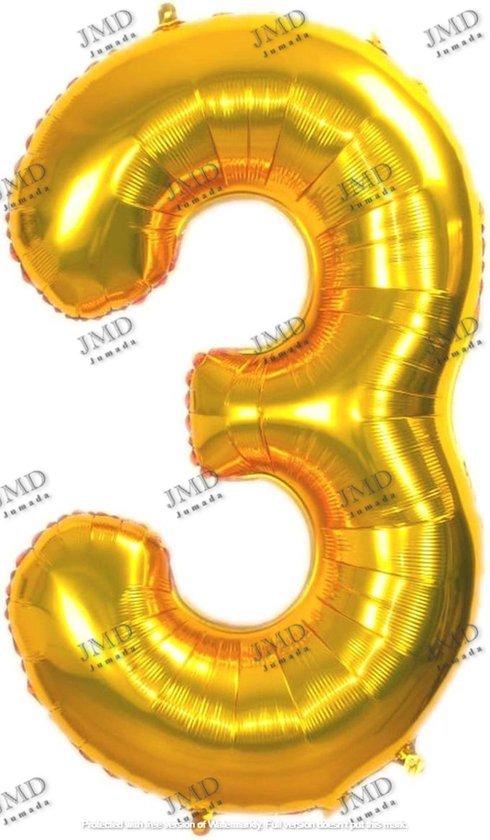 Folie ballon XL 100cm met opblaasrietje - cijfer 3 goud - 3 jaar folieballon - 1 meter groot met rietje - Mixen met andere cijfers en/of kleuren binnen het Jumada merk mogelijk