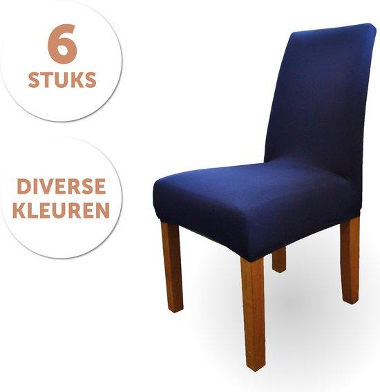 Bambooï Stoelhoezen Eetkamerstoelen 6 Stuks - Stretch - Stoelhoes - Marine Blauw