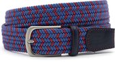 Elastische heren riem blauw/rood 3.5 cm breed - Jeans Blauw - Sportief - Leer / - Taille: 105cm - Totale lengte riem: 120cm - Mannen riem