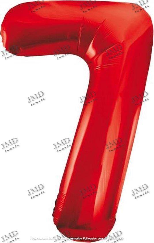 Folie ballon XL 100cm met opblaasrietje - cijfer 7 rood - 7 jaar folieballon - 1 meter groot met rietje - Mixen met andere cijfers en/of kleuren binnen het Jumada merk mogelijk