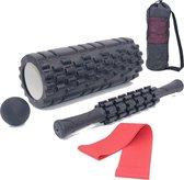 AJ-Sports Foam roller set + GRATIS Weerstandsband - Massage set - Massage stick, Massage bal en Foam roller - Grid Triggerpoint - Compacte draagtas - Fitness + Yoga