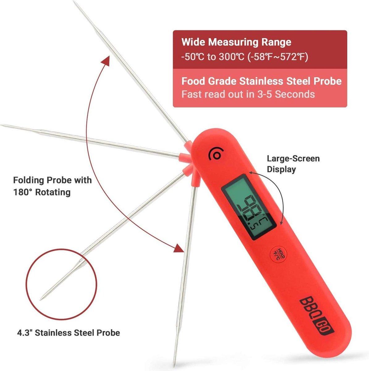 Inkbird BG-HH1C Digitale Vleesthermometer, Keukenthermometer met Opvouwbare Probe, Draadloze BBQ Thermometer voor Koken, Snoep, Bakken, Frituren