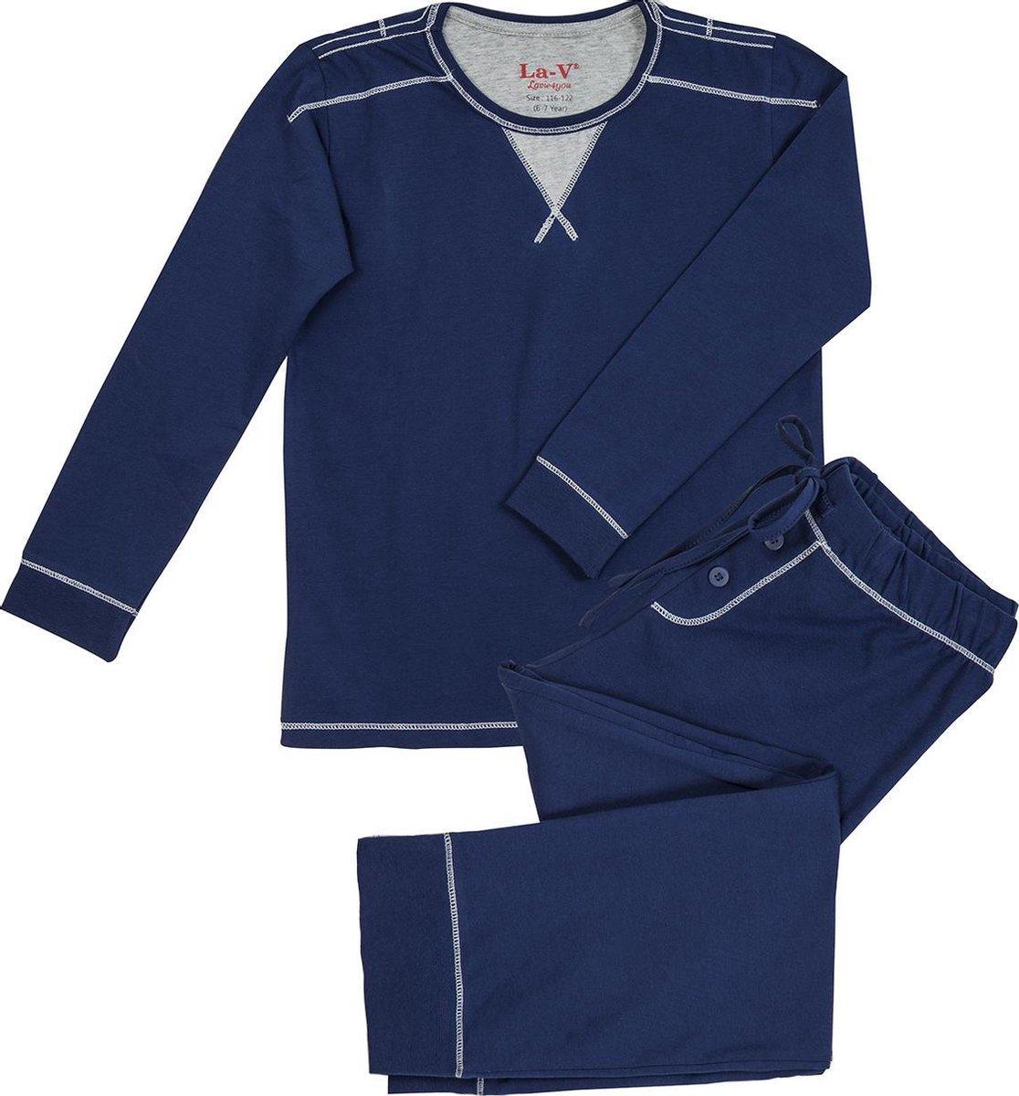 La V pyjamaset voor jongens donkerblauw 140-146