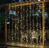 LED Licht Gordijn - 200 LED's - 2x2 meter - Warm Wit licht met Stroom Plugin