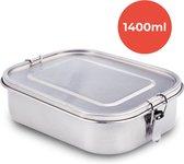 KitchenBrothers Lunchbox - Milieuvriendelijk RVS - Lekvrij en Waterdicht - 3 Compartimenten - 1400ML