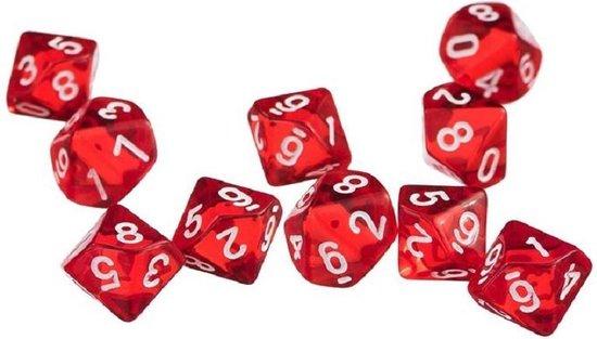 Afbeelding van het spel 10-Kantige Dobbelsteen (SET van 10 STUKS)|D10|Rood|Stipco