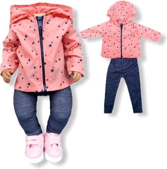 Poppenkleding meisje - Kleertjes geschikt voor o.a. BABY born - Poppenkleertjes 43 cm - Roze jasje met broekje