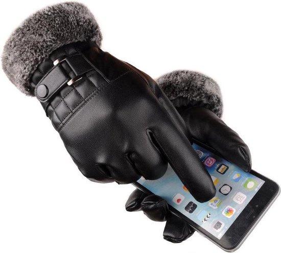 Luxe Winter Handschoenen Met Touch Tip Gloves - Anti-Slip - Touchscreen Gloves - Voor Fiets/Motor/Scooter/Sporten/Wandelen - One-Size - Winddicht Met Heerlijk Warme Fleece Voering - Winterhandschoenen - PU Leder - Voor Heren - Zwart