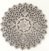 Flowee Mandala - Wanddecoratie Houten wandpaneel - Greywash - 90 cm