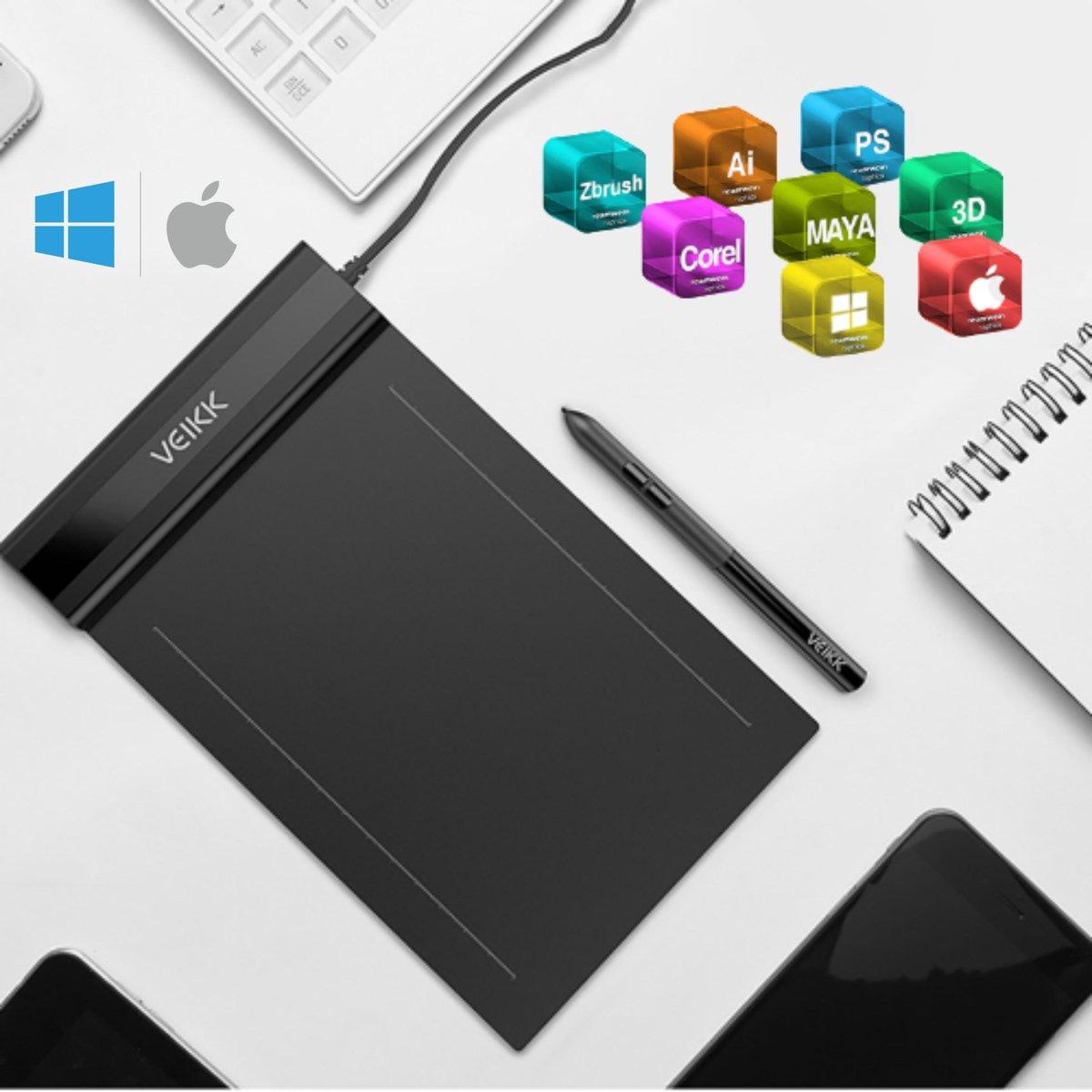 Tekentablet Veikk S640 - grafische teken tablet - Batterij vrije pen