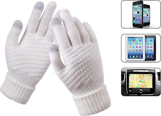 Luxe Gebreide Winter Handschoenen Met Touch Tip Gloves - Touchscreen Gloves - Voor Fiets/Motor/Scooter/Sporten/Wandelen - One-Size - Voor Heerlijk Warme Handen - Winterhandschoenen - Wol - Voor Dames - Wit