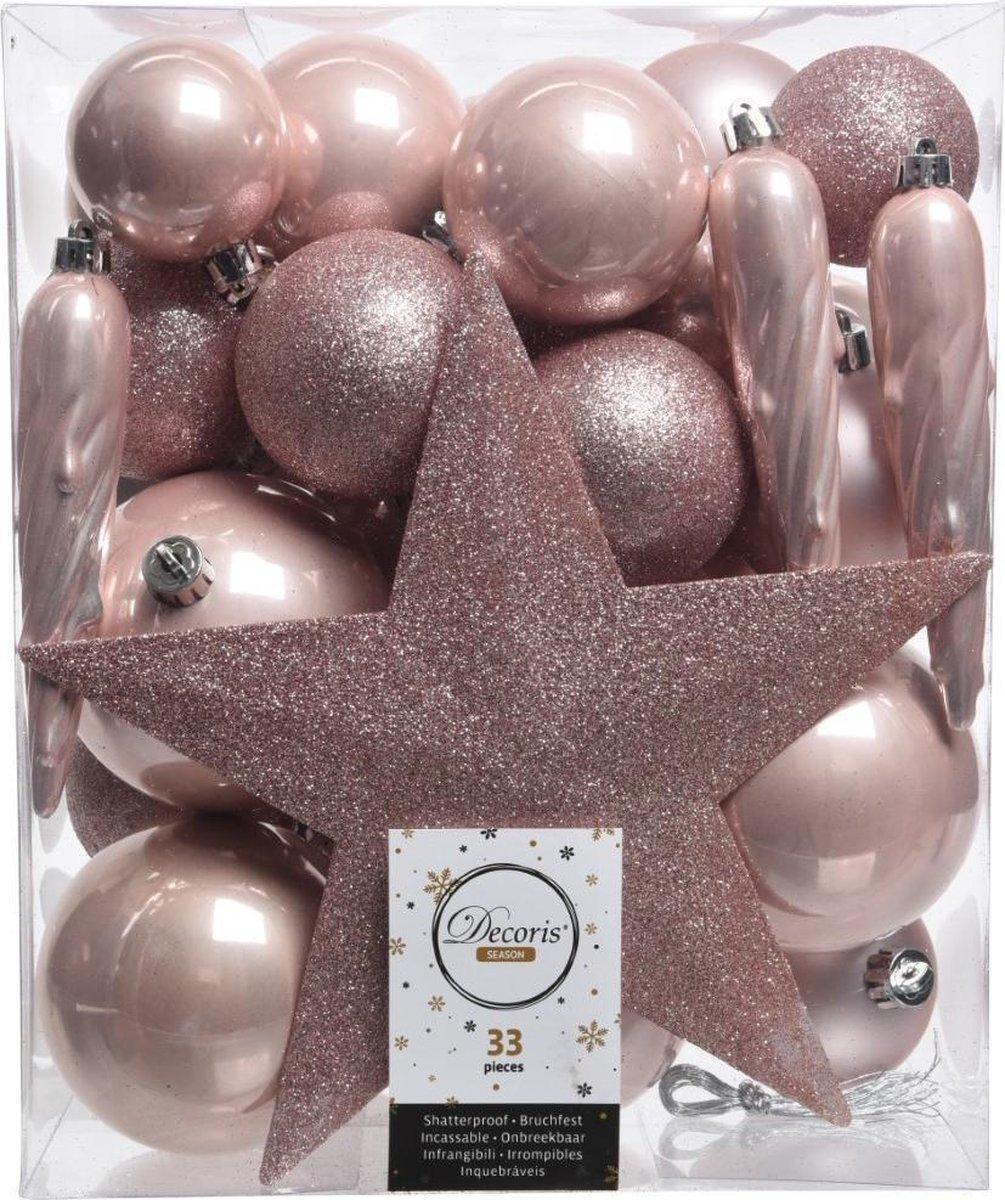 Decoris kerstballen - 33 stuks – kunststof - met piek - Decoris