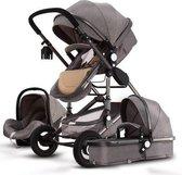 Baby Pro Max® Luxe Baby Buggy 3 in 1 | Baby Wagen | Kinderwagen met stoel en wieg | Hoge Kwaliteit | Moon Grijs