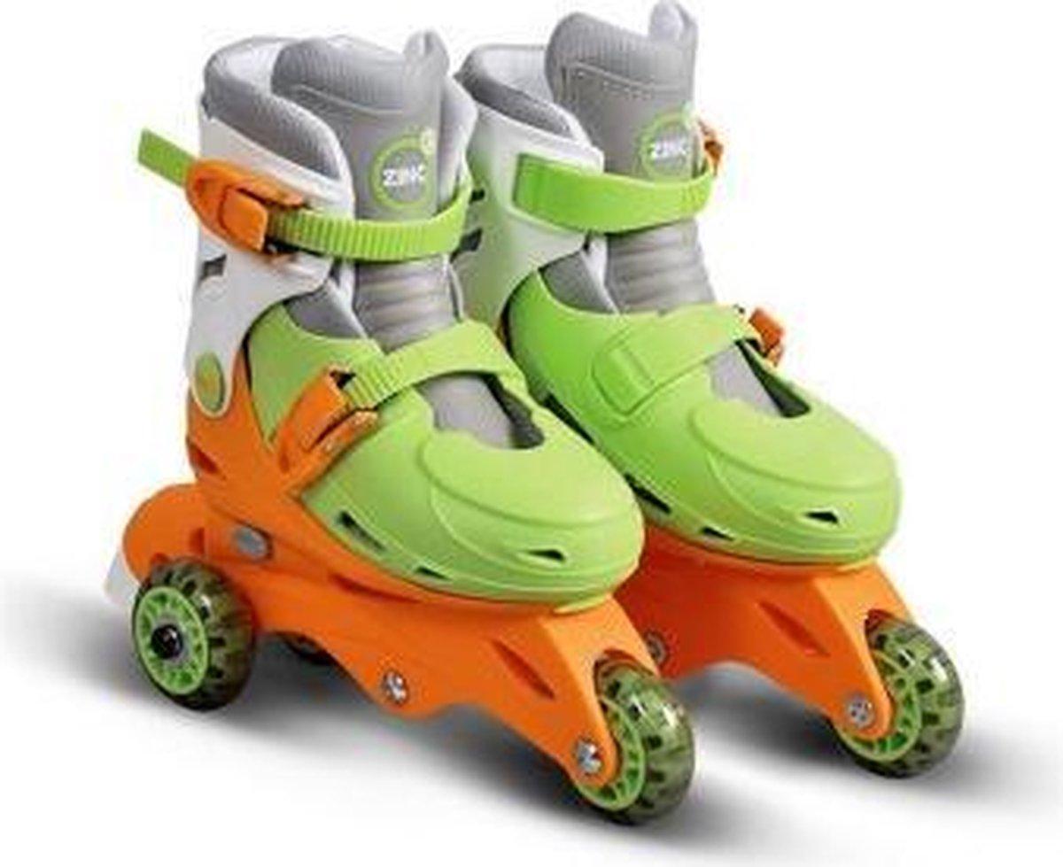 Zinc inline skates rolschaatsen verstelbaar 9-12 groen-oranje