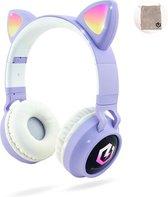 PowerLocus Buddy Draadloze On-Ear Koptelefoon voor Kinderen, LED lampjes, 85db Limiet, met Microfoon, Micro SD poort - Purper