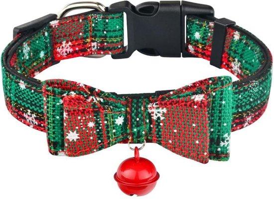 Halsband hond - verstelbaar - motief - katoen - kerst - kerstmis - groen - bel - stevig - katoen - 26/39 x 2 cm