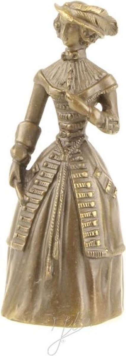 Beeldje - brons - tafelbel - dame -13,8cm hoog