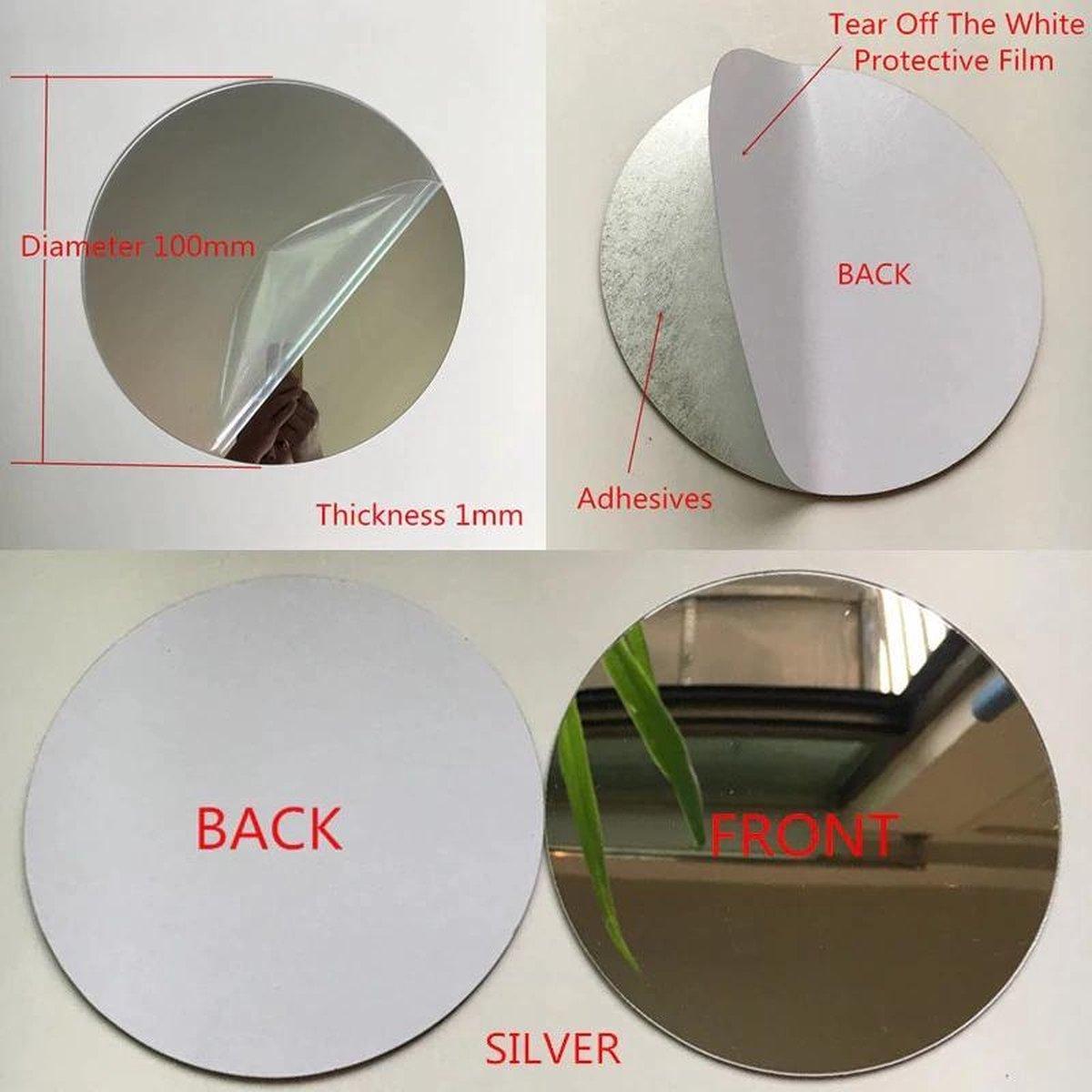 Mini plakspiegel rond - 10 cm - Acrylspiegel - Met lijmlaag aan achterzijde