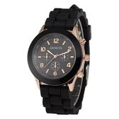 Geneva Siliconen Zwart Horloge   Fashion Favorite