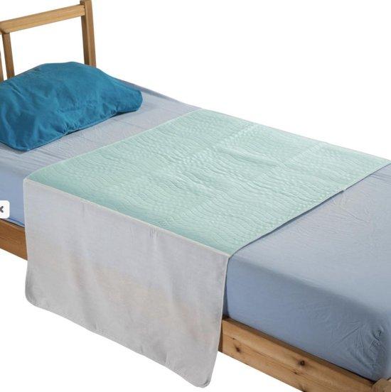 Wasbare matrasbeschermer met instopstroken 85x90cm bedbeschermer - incontinentie bed onderlegger - bedonderlegger - Lichtgroen