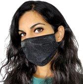 Glitter mondkapje wasbaar   zwart   met katoen   mondmasker