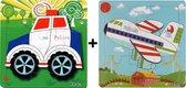 2 Houten Puzzels van 9 stukjes | Legpuzzels | Vliegtuig en Politie Auto | Kinderen | Peuters | Kleuters