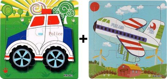 2 Houten Puzzels van 9 stukjes   Legpuzzels   Vliegtuig en Politie Auto   Kinderen   Peuters   Kleuters
