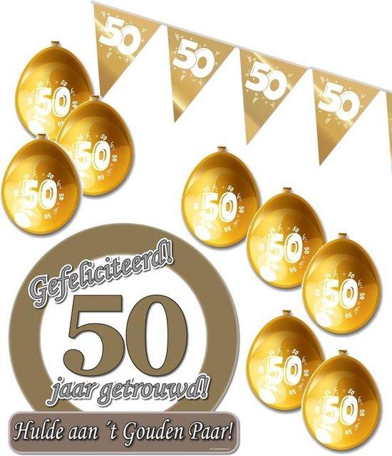 50 jaar getrouwd S - Jubileum pakket feestversiering - feestartikelen gouden bruiloft - voor kleine woonkamer