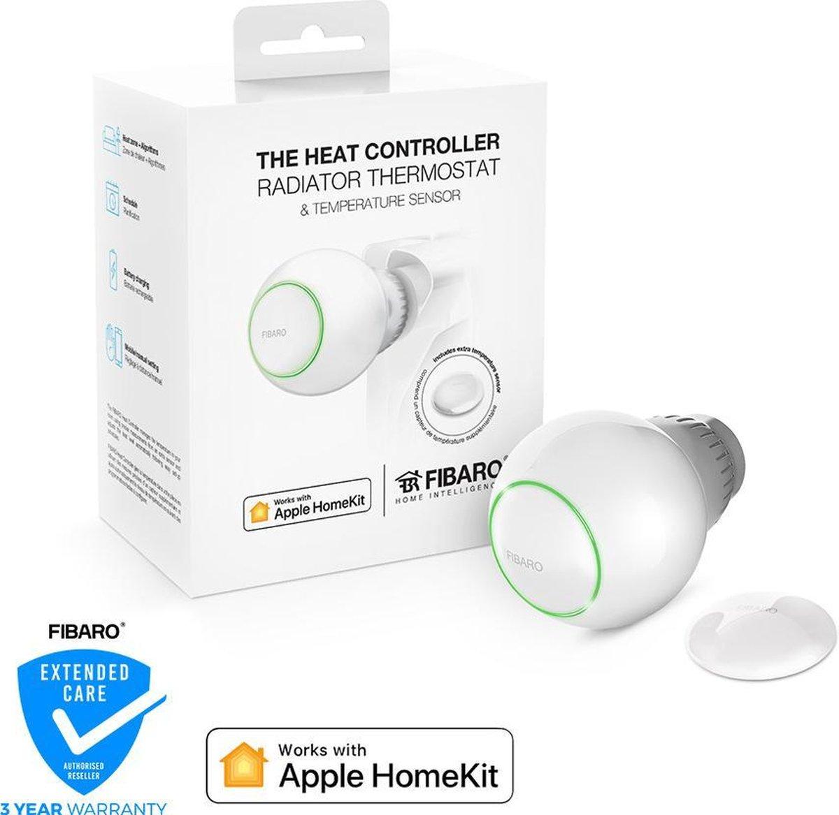 FIBARO Heat Controller Starterpack - Werkt alleen met Apple HomeKit - Thermostaatkraan - Inclusief externe temperatuursensor