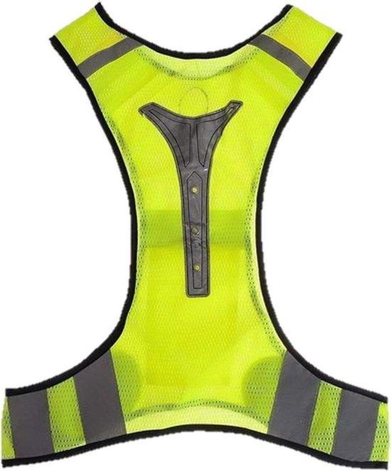 LED X-vorm protectievest geel | rode led-verlichting | Goed zichtbaar bij weinig of geen licht | reflecterend sport hesje | hardlopen rennen fietsen