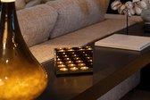DistinQ Waxinelichthouder - spiegelglas met infinity effect – voor 3 theelichtjes 18x7x12 cm - Glas | Zwart