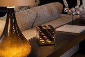 DistinQ Waxinelichthouder - spiegelglas met infinity effect - voor 4 theelichtjes 15x15x16cm - Zwart