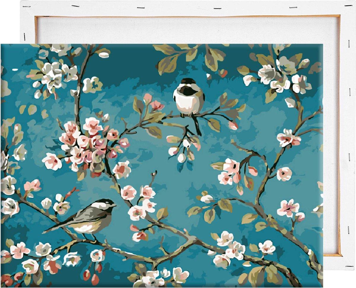 Schilderen Op Nummer Volwassenen - Vogels & Bloemen - Met Frame - 40x50 cm