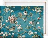 Schilderen Op Nummer Volwassenen - Vogels & Bloemen - Met Frame - 40x50cm