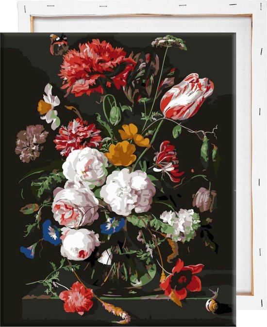 Schilderen Op Nummer Volwassenen - Bloemen In Vaas - Met Frame - 40x50cm