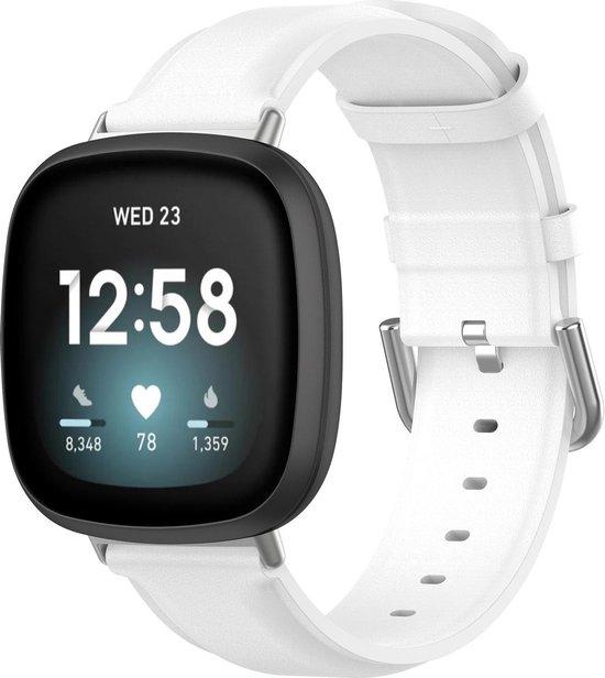 Fitbit Versa 3 / Sense leren band - wit - - Horlogeband Armband Polsband