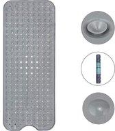 The Original HSXL – Antislip Douchemat / Badmat Grijs met Zuignappen – Mat voor in bad – Anti Slip Douche Cabine Mat – 100x40CM – Mat voor in de badkamer