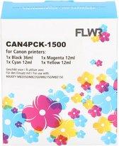 FLWR - Inktcartridge / PGI-1500XL / 4-Pack Zwart en Kleur - Geschikt voor Canon