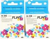 FLWR - Inktcartridges / 338 & 343 / 2-pack Zwart & Kleur - Geschikt voor HP