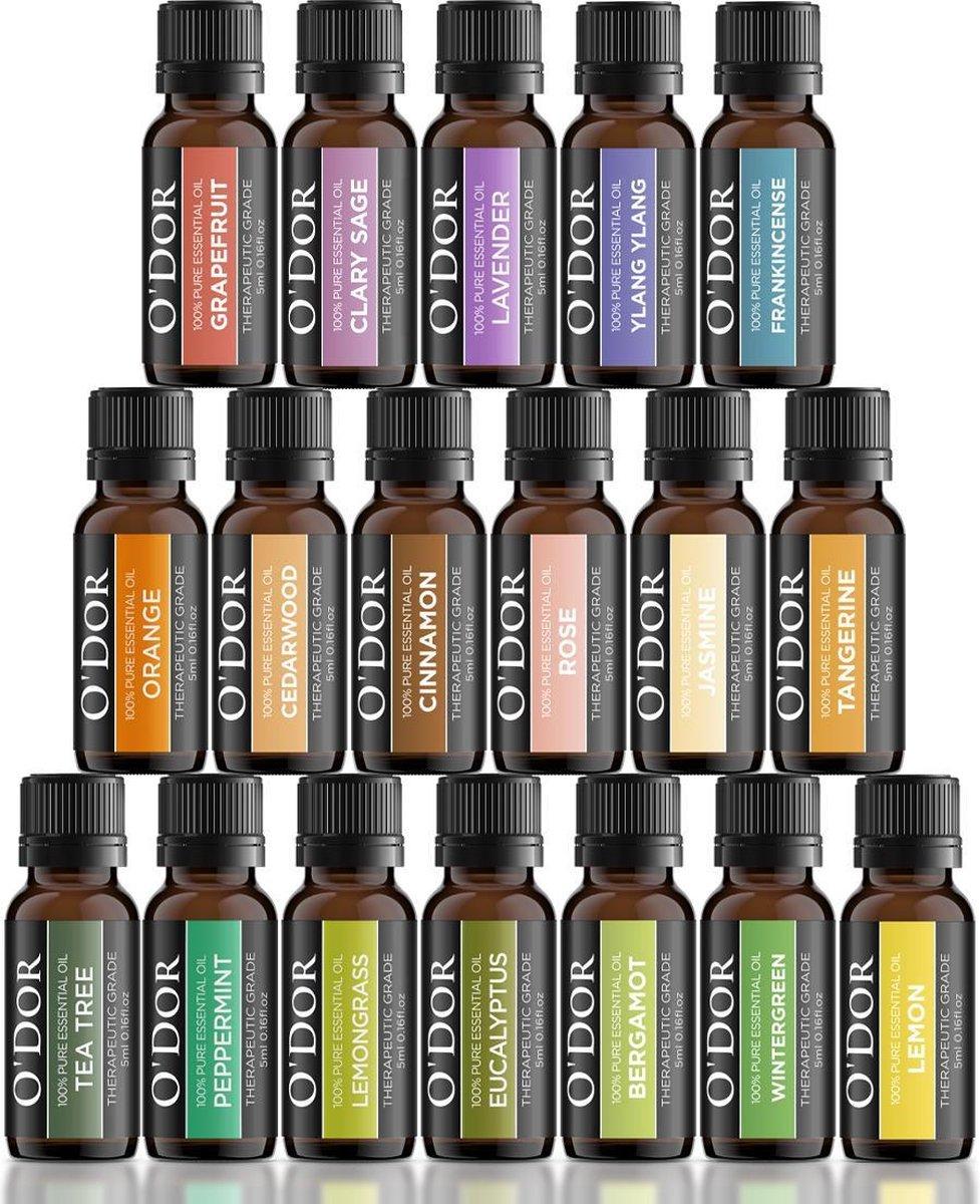 O'dor   Top 18 - Etherische Olie- Aromatherapie Oli n Premium Geurolie - 100% Puur Biologisch - voor