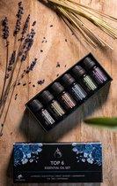 6 Essentiële Olie - Aromatherapie - Cadeau Set – Geurolie voor Aroma Diffuser- Etherische Oliën – Sterkere concentratiegraad