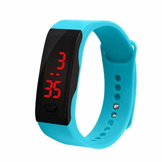 LED Sporthorloge - Digitaal Horloge - Kinderen - Rubber - Blauw - Ø 20 mm