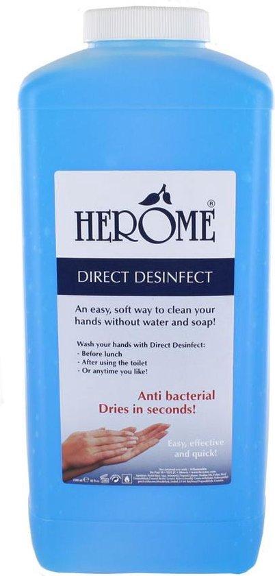 Herome Direct Desinfect Handgel Navulling Voor Wanddispenser -2500ml - Desinfecterende Handgel met 80% Alcohol